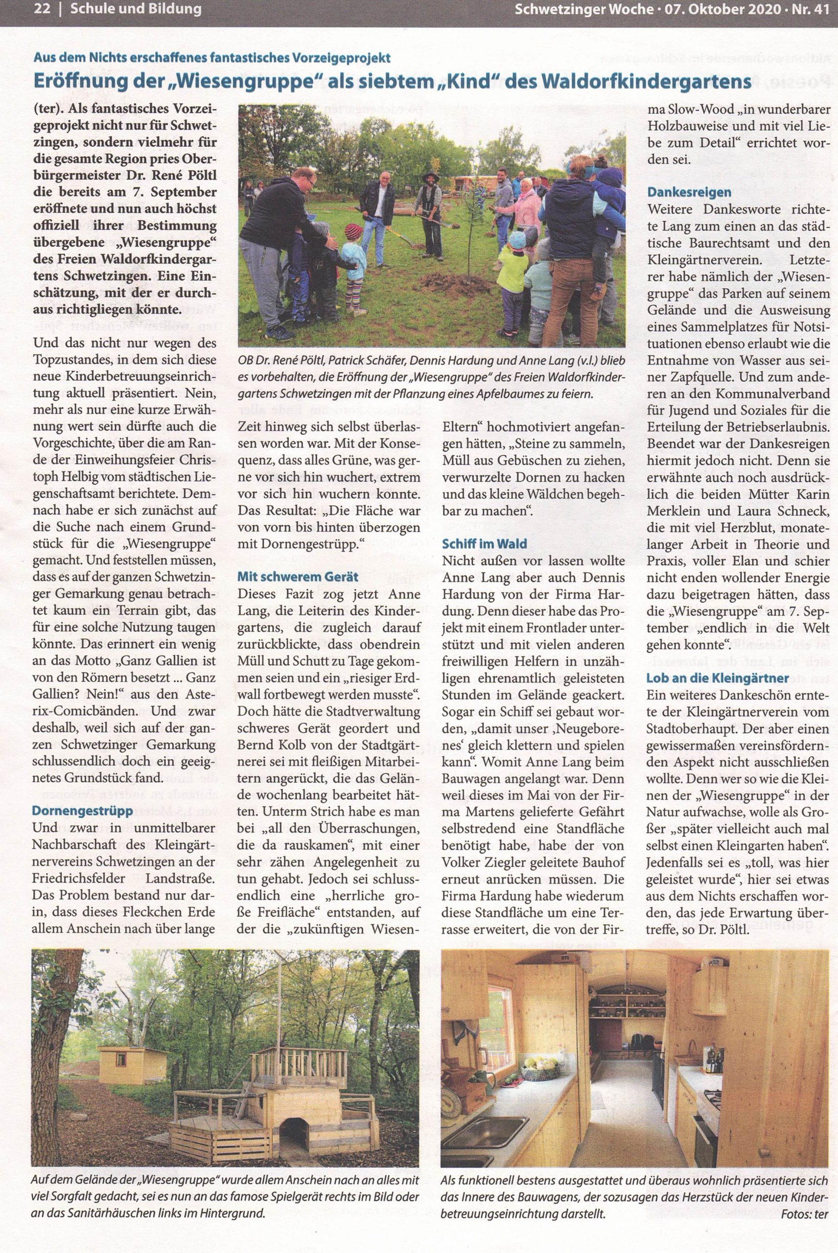 Bericht im der Schwetzinger Woche über die Wiesengruppe