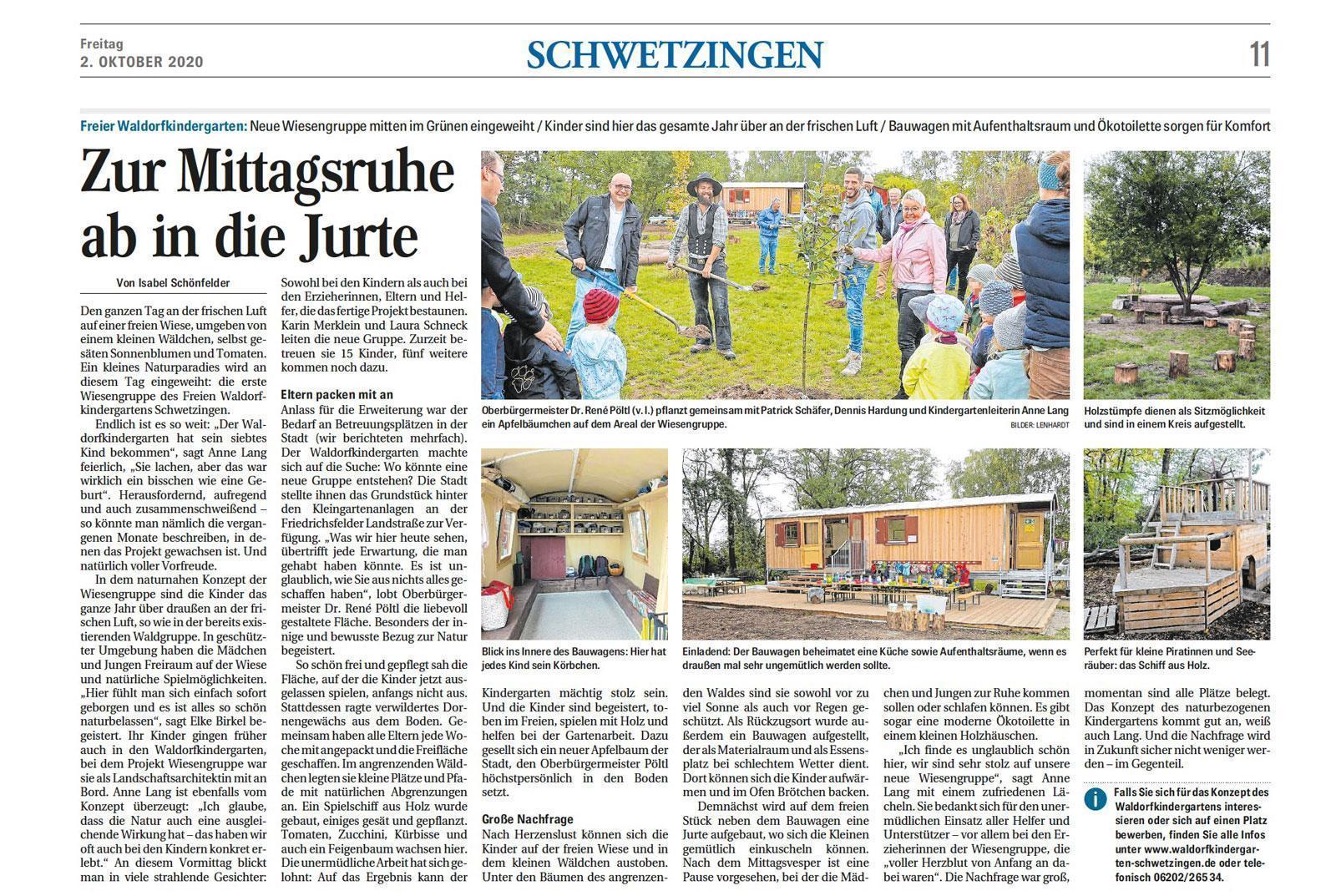 Bericht im Mannheimer Morgen über die Wiesengruppe